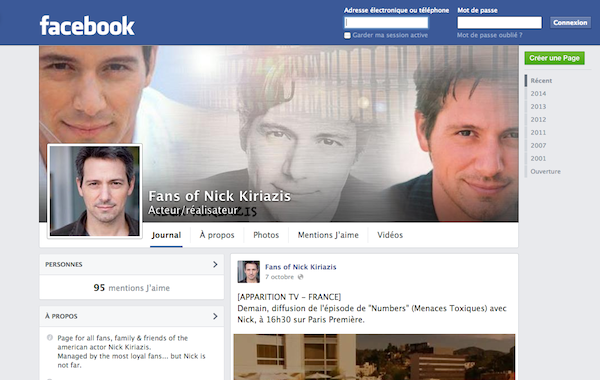 "Page fan Facebook ""Fans of Nick Kiriazis"""