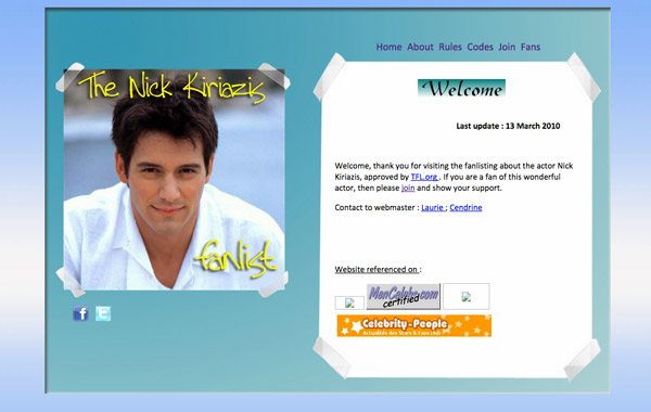 The Nick Kiriazis Fanlist